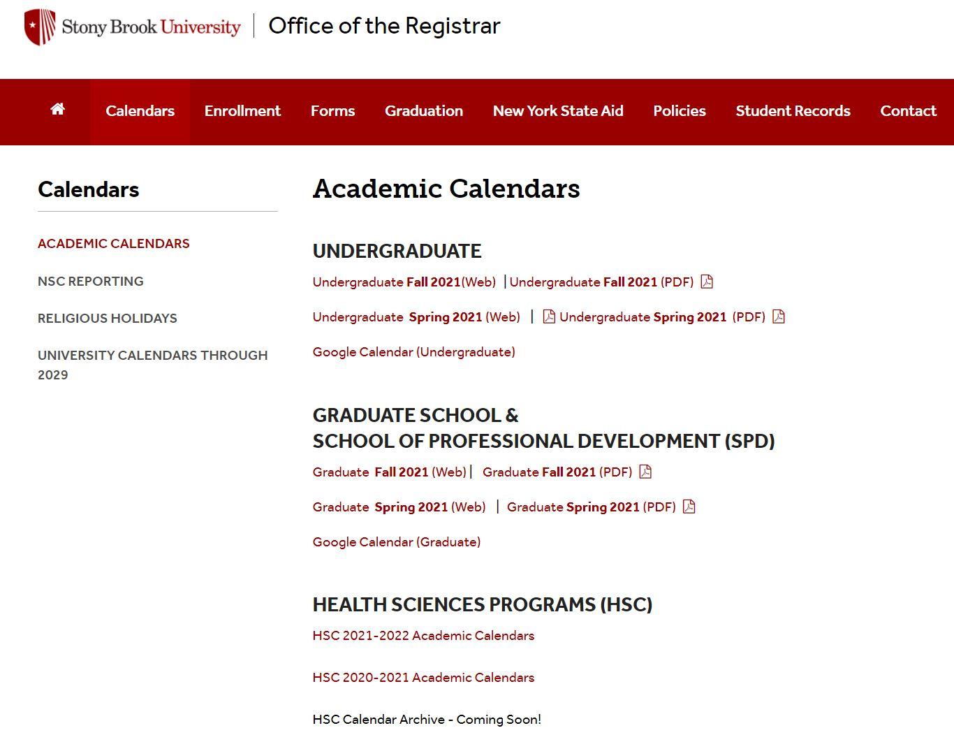 HS academic calendar